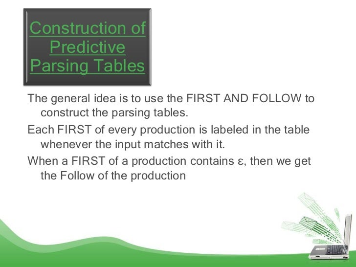 Construction of  PredictiveParsing TablesThe general idea is to use the FIRST AND FOLLOW to  construct the parsing tables....