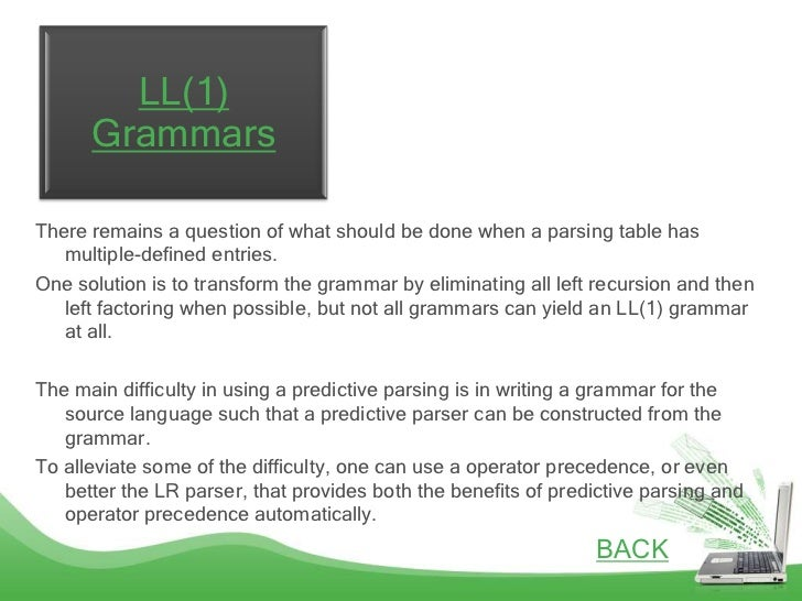 LL(1)      GrammarsThere remains a question of what should be done when a parsing table has   multiple-defined entries.One...