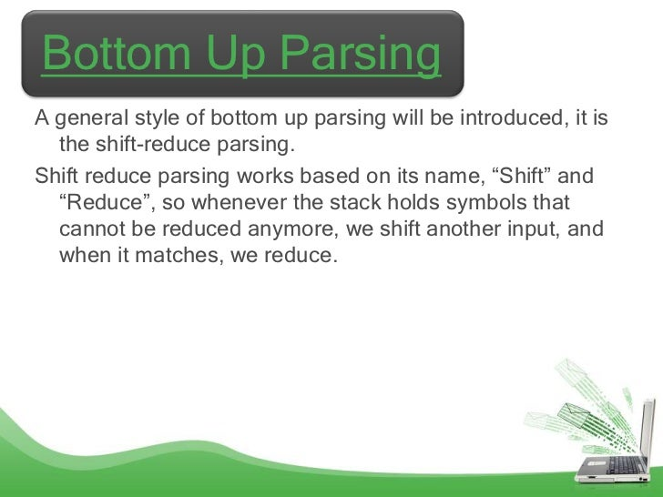 Bottom Up ParsingA general style of bottom up parsing will be introduced, it is  the shift-reduce parsing.Shift reduce par...
