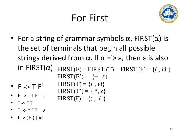 For First • For a string of grammar symbols α, FIRST(α) is the set of terminals that begin all possible strings derived fr...