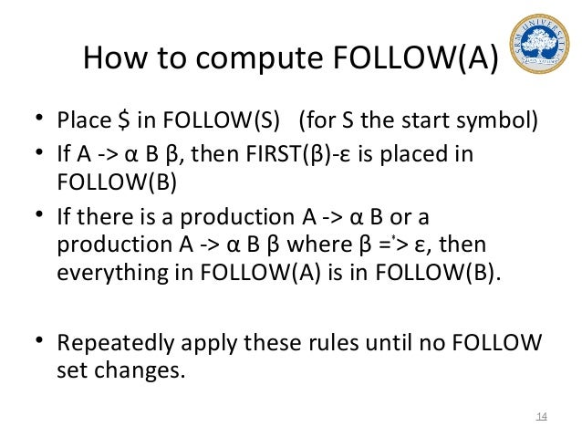 How to compute FOLLOW(A) • Place $ in FOLLOW(S) (for S the start symbol) • If A -> α B β, then FIRST(β)-ε is placed in FOL...