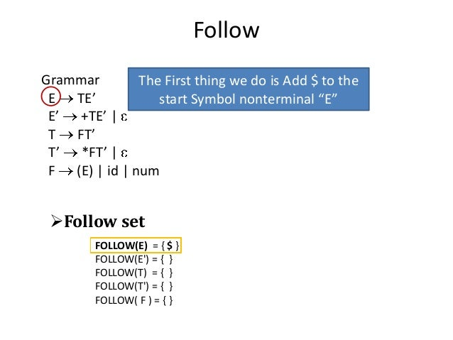Follow Grammar E TE' E' +TE'   T FT' T' *FT'   F (E)   id   num The First thing we do is Add $ to the start Symbol nonterm...
