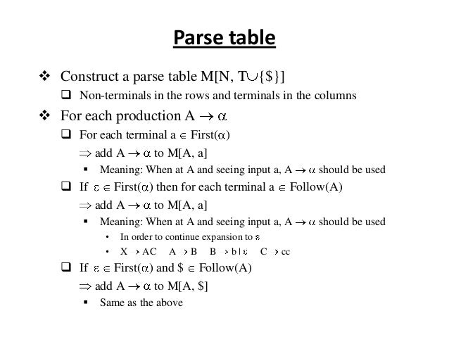 Parse table  Construct a parse table M[N, T {$}]  Non-terminals in the rows and terminals in the columns  For each prod...