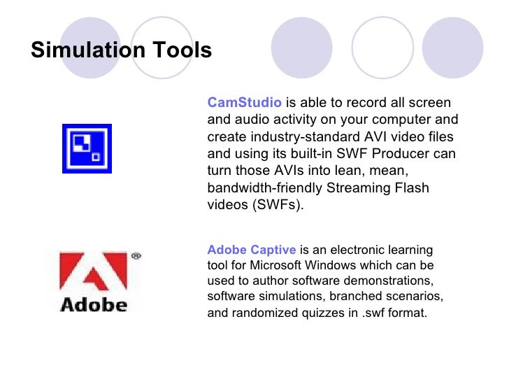 Simulation Tools   CamStudio  is able to record all screen and audio activity on your computer and create industry-standar...