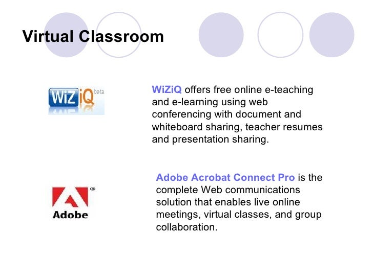 Virtual Classroom   WiZiQ  offers free online e-teaching and e-learning using web conferencing with document and whiteboar...
