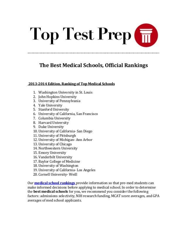 Best Pre Med Programs >> Best Medical Schools Med School Rankings Toptestprep Com