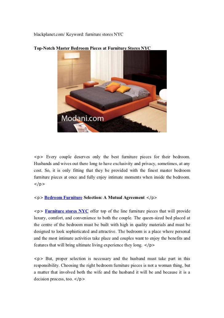 blackplanet.com/ Keyword: furniture stores NYCTop-Notch Master Bedroom Pieces at Furniture Stores NYC<p> Every couple dese...