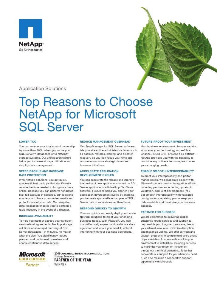 Application Solutions   Top Reasons to Choose NetApp for Microsoft SQL Server LOWER TCO                                   ...