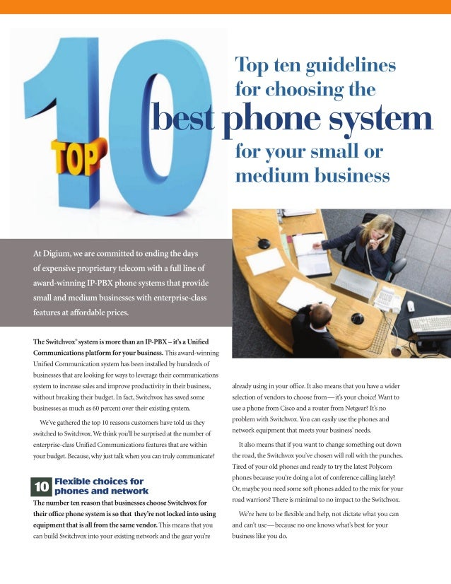 Top ten guidelines for choosing the best phone system for your business