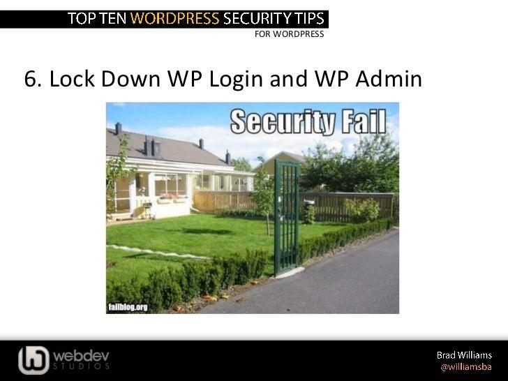 FOR WORDPRESS6. Lock Down WP Login and WP Admin