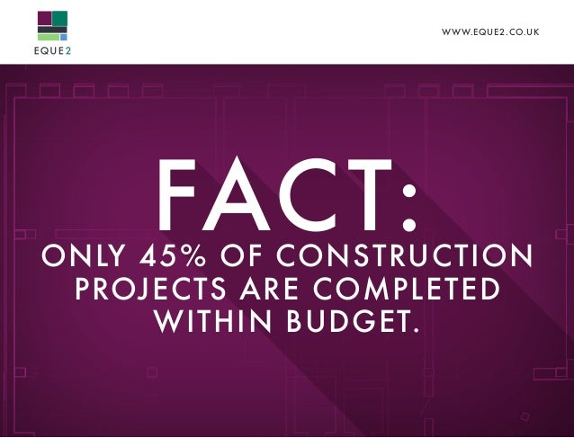 WWW.EQUE2.CO.UK FACT:ONLY 45% OF CONSTRUCTION PROJECTS ARE COMPLETED WITHIN BUDGET.