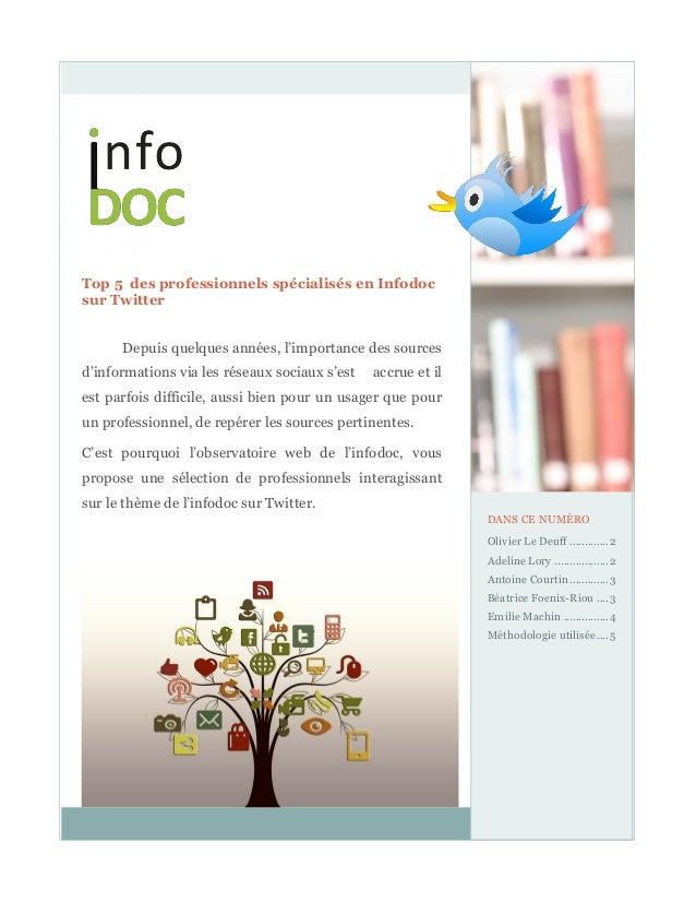 1 Top 5 des professionnels spécialisés en Infodoc sur Twitter Depuis quelques années, l'importance des sources d'informati...