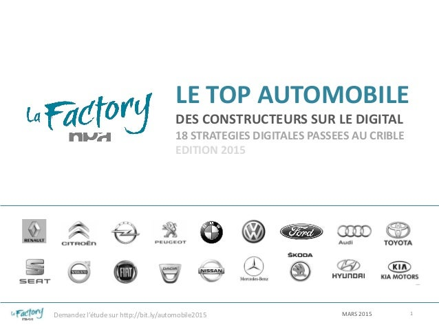 LE TOP AUTOMOBILE DES CONSTRUCTEURS SUR LE DIGITAL 18 STRATEGIES DIGITALES PASSEES AU CRIBLE EDITION 2015 MARS 2015 1Deman...