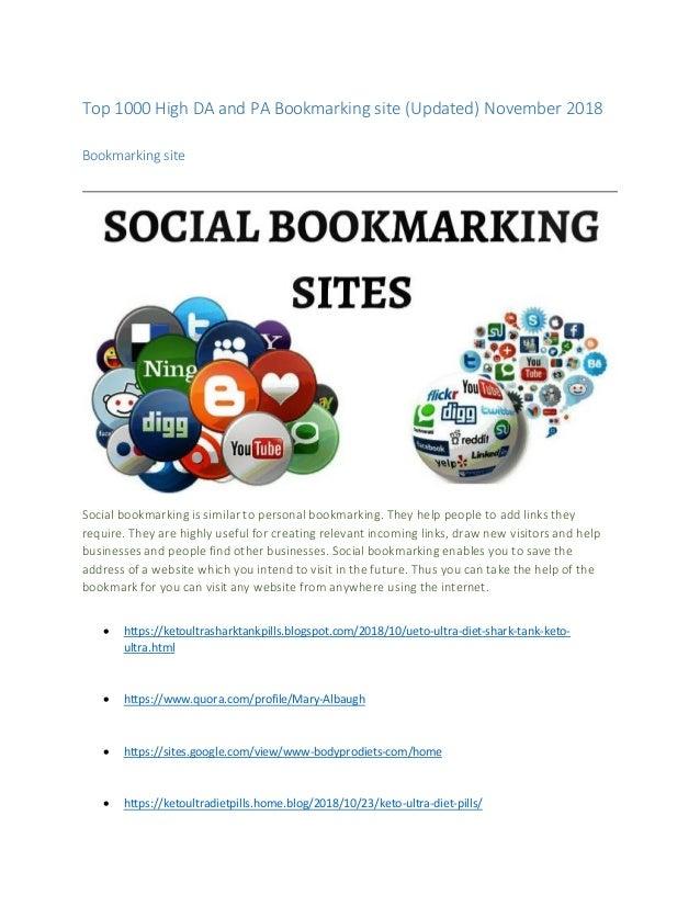 Top 1000 high da and pa bookmarking site (updated) november