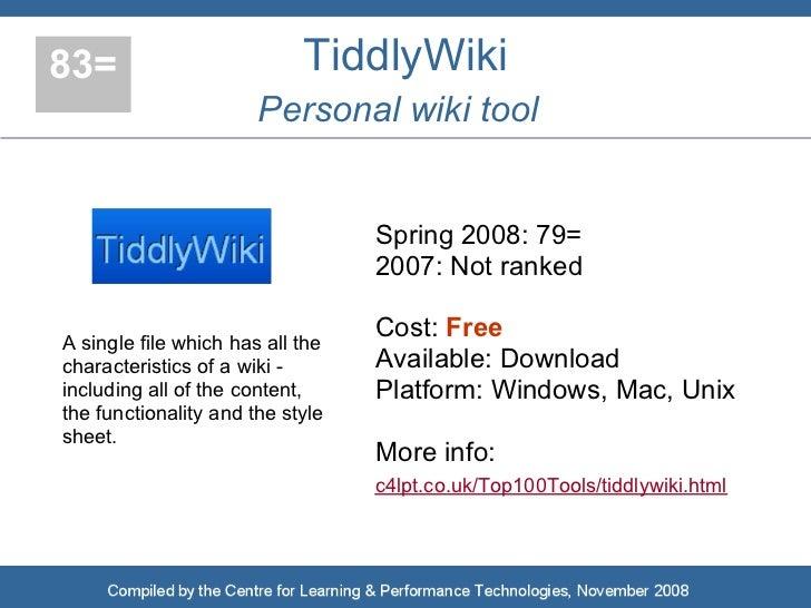 83=                         TiddlyWiki                        Personal wiki tool                                     Sprin...