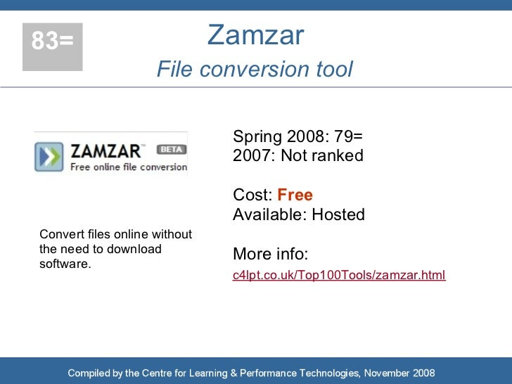 83=                            Zamzar                      File conversion tool                                  Spring 20...