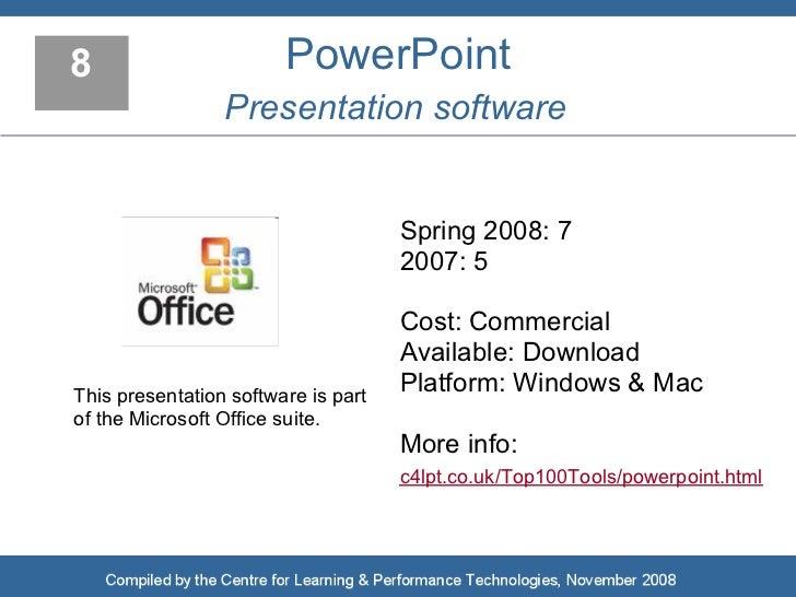 8                       PowerPoint                  Presentation software                                        Spring 20...