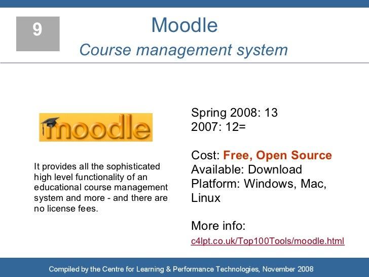 9                           Moodle           Course management system                                       Spring 2008: 1...