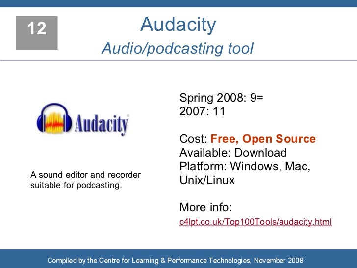 12                        Audacity                  Audio/podcasting tool                                 Spring 2008: 9= ...