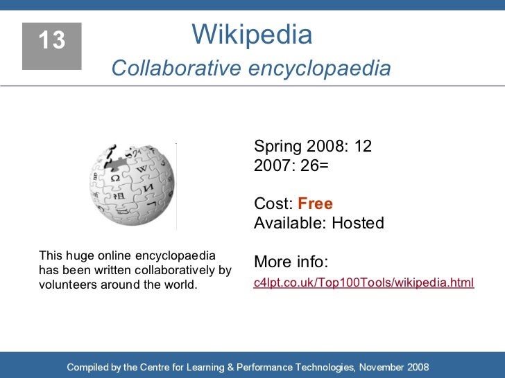 13                         Wikipedia              Collaborative encyclopaedia                                         Spri...