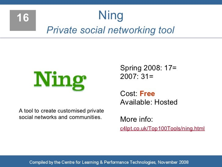 16                              Ning            Private social networking tool                                         Spr...