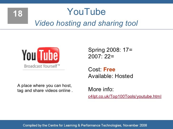 18                        YouTube         Video hosting and sharing tool                                   Spring 2008: 17...