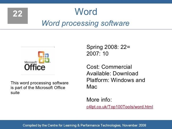 22                               Word                 Word processing software                                       Sprin...