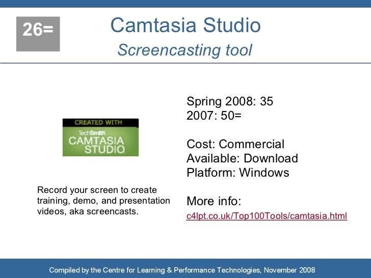 26=               Camtasia Studio                     Screencasting tool                                       Spring 2008...
