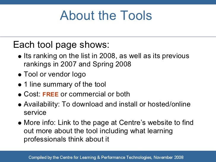 Top 100 Tools for Learning 2008 Slide 3