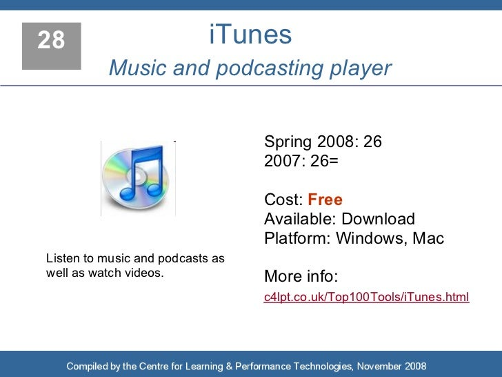 28                          iTunes           Music and podcasting player                                     Spring 2008: ...