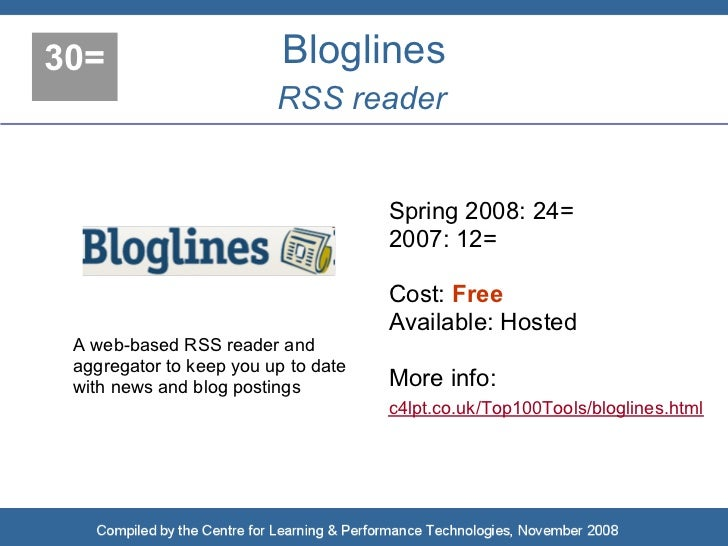 30=                       Bloglines                          RSS reader                                        Spring 2008...
