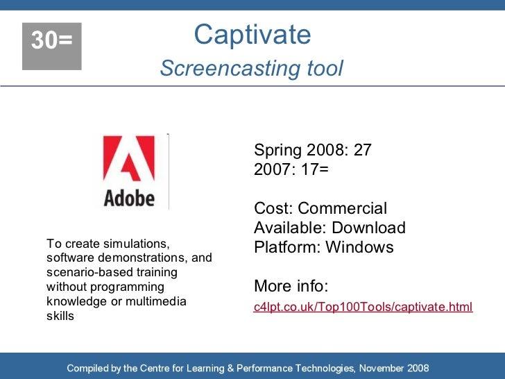 30=                      Captivate                    Screencasting tool                                   Spring 2008: 27...