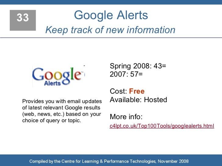 33                   Google Alerts          Keep track of new information                                       Spring 200...