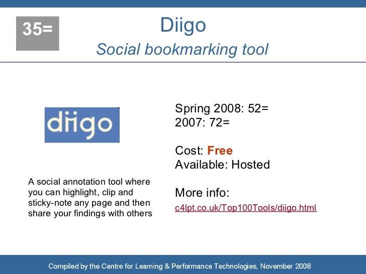 35=                               Diigo                 Social bookmarking tool                                      Sprin...