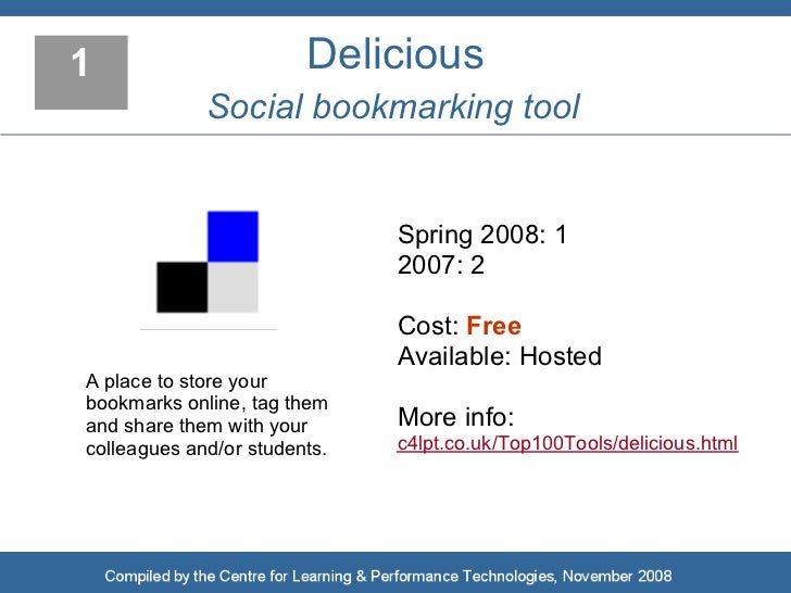 1                       Delicious              Social bookmarking tool                                 Spring 2008: 1     ...