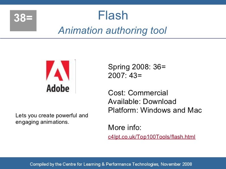 38=                            Flash                 Animation authoring tool                                   Spring 200...