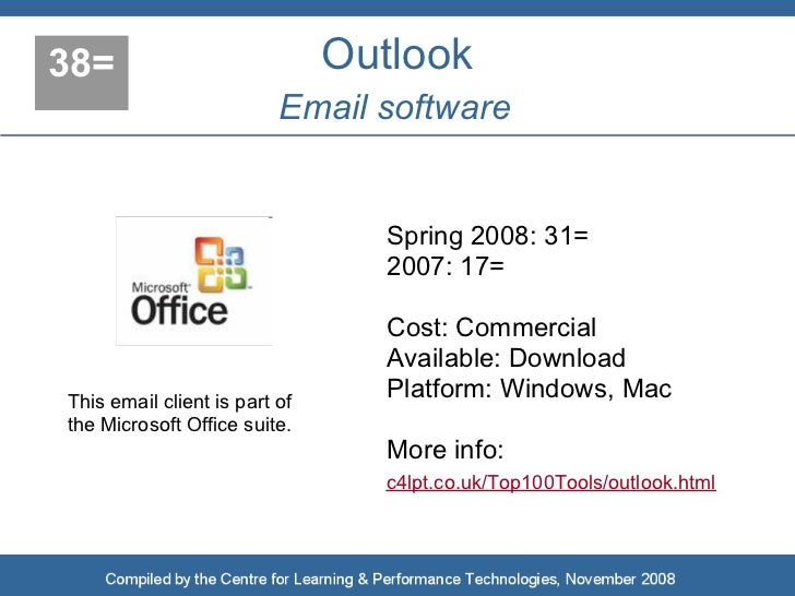 38=                            Outlook                           Email software                                    Spring ...