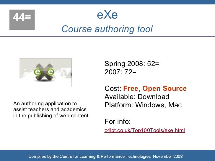 44=                                 eXe                     Course authoring tool                                        S...