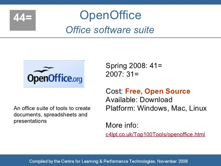 44=                          OpenOffice                       Office software suite                                       ...