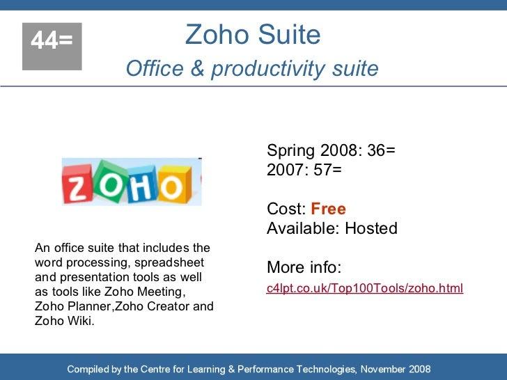 44=                        Zoho Suite                 Office & productivity suite                                       Sp...