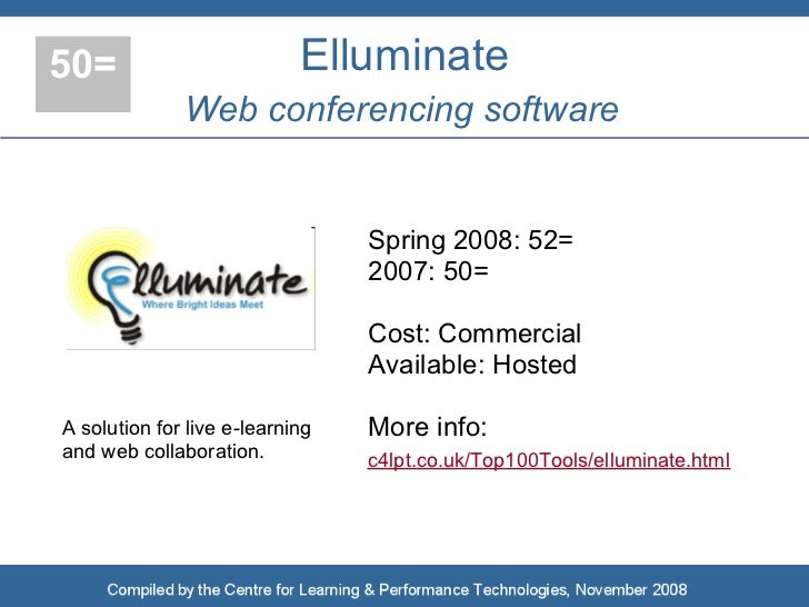 50=                         Elluminate               Web conferencing software                                    Spring 2...
