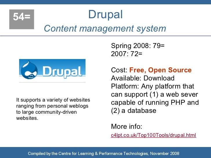 54=                             Drupal             Content management system                                     Spring 20...