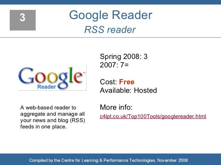 3                 Google Reader                        RSS reader                             Spring 2008: 3              ...