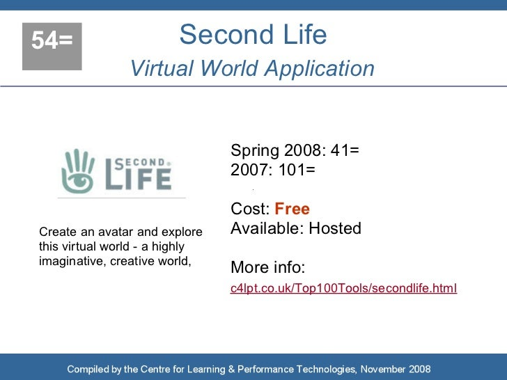 54=                     Second Life                Virtual World Application                                   Spring 2008...
