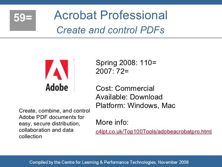 59=          Acrobat Professional               Create and control PDFs                                  Spring 2008: 110=...