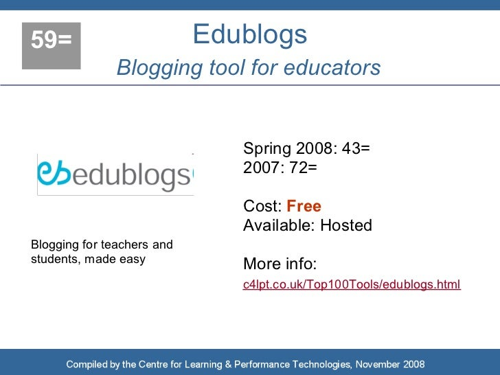 59=                         Edublogs                Blogging tool for educators                                  Spring 20...