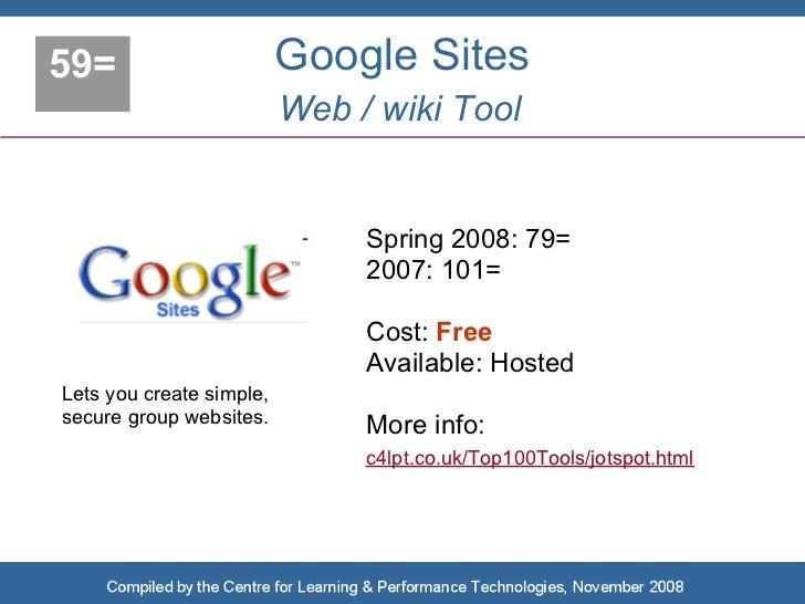 59=                       Google Sites                           Web / wiki Tool                                  Spring 2...