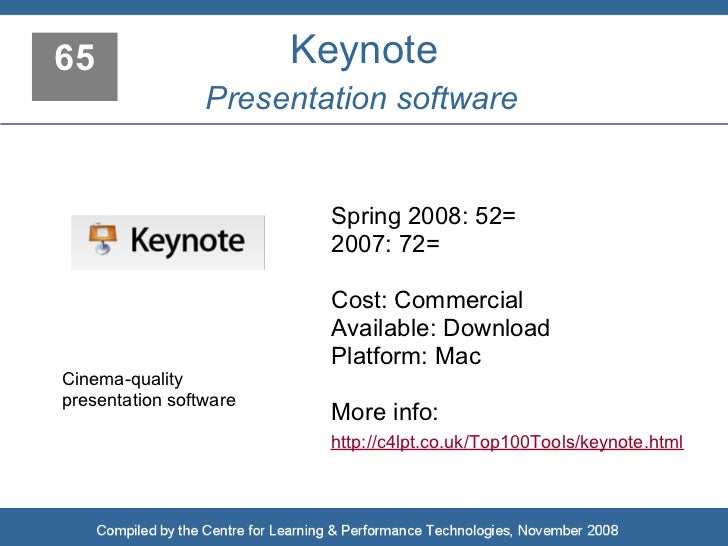 65                      Keynote                  Presentation software                            Spring 2008: 52=        ...