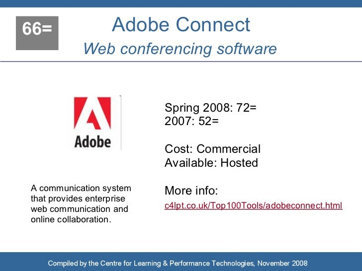 66=                Adobe Connect             Web conferencing software                              Spring 2008: 72=      ...