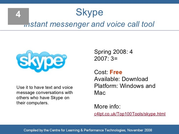 4                               Skype     Instant messenger and voice call tool                                      Sprin...